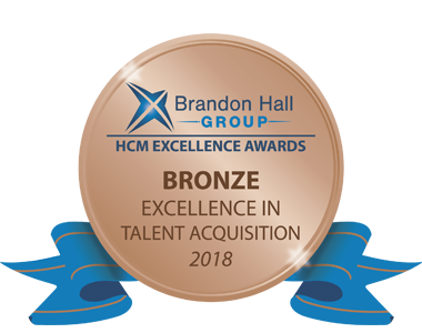 Brandon Hall group, Bronze award, excellence in talent acquistion 2018, with blue ribbon