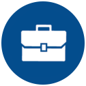 white briefcase icon, blue circle background