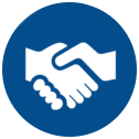 Handshake icon with blue background
