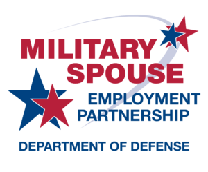 Military spouse employment partnership, department of defense, red and blue stars
