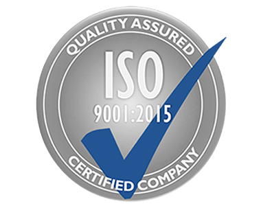 ISO Quality Assured Certified Company, blue check mark