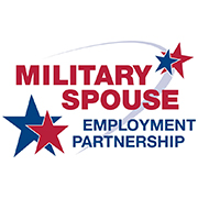 Military spouse employment partnership, red and blue stars