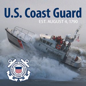Coast Guard Cutter riding over waves
