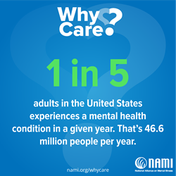 NAMI: Why care image with blue background, 1 in 5 statistic
