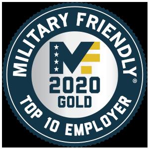 Military Friendly Top 10 Employer for 2020 designation blue logo