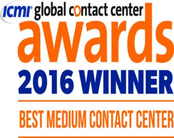 ICMI global contact center awards 2016 winner, best medium contact center