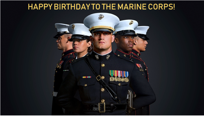 Five Marines in uniform standing in v shape, caption reads Happy Birthday to the Marine Corps