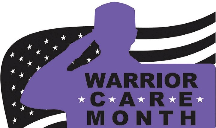 Purple silhouette of service member saluting, black and white American flag background, warrior care month.