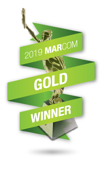 MarCom Award Gold Statue with green award ribbon, 2019 MARCOM GOLD WINNER