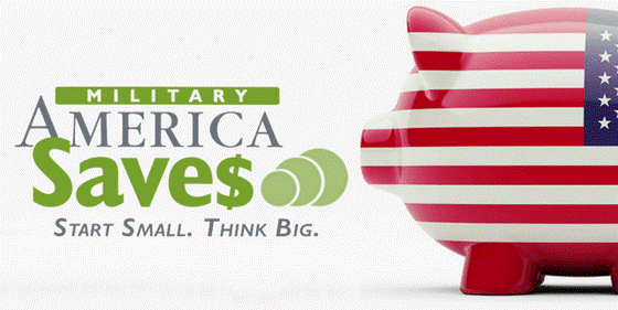 American flag designed piggy bank, military America saves, start small, think big.