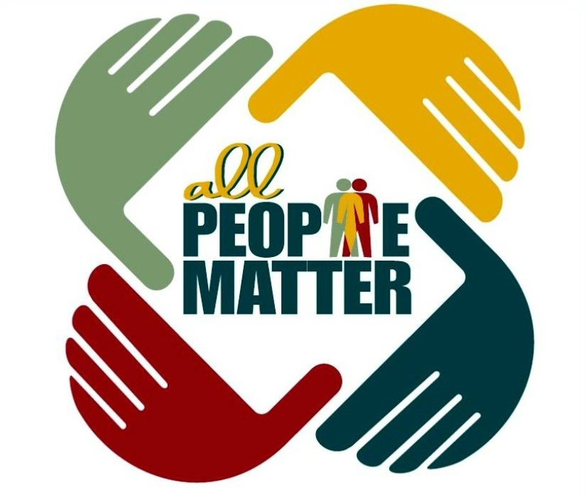 """four hands creating a frame colored red, blue, yellow, green, """"all people matter"""" centered in the frame"""