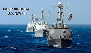3 United States Navy destroyers sailing. 2 American flags flying off ships. Happy Birthday U.S. Navy!