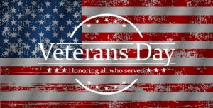 American Flag background. Veterans Day, Honoring all who served.
