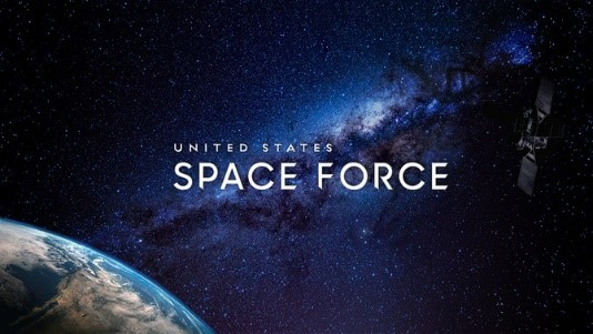 Picture of outer space with Earth in the bottom left corner. United States Space Force written in the center of the picture.