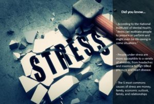 "The word ""stress"" written on a tile that has been shattered by the hammer that lays across it. ""Did you know"" fact column on the right side of the image."