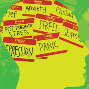 """Yellow silhouette side profile of a person's face with green background. """"Hello my name is:"""" stickers filling the persons head. Listed on the stickers: grief, anxiety, phobia, PTSD, stress, shame, depression, and panic."""