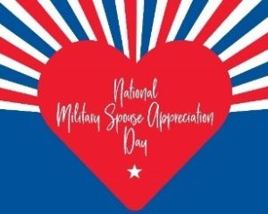 Red heart in the center of the photo, National Military Spouse Appreciation Day written inside heart.